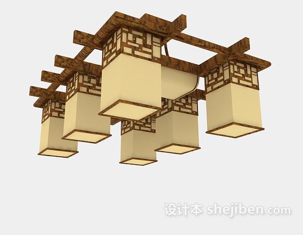 吊灯模型下载_中式棕色吊灯3d模型下载-设计本3D模型下载