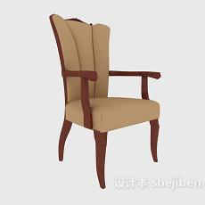 棕色扶手休闲椅3d模型下载
