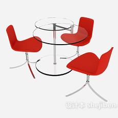 红色时尚简约桌椅3d模型下载