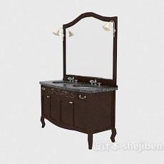欧式复古卫浴镜3d模型下载