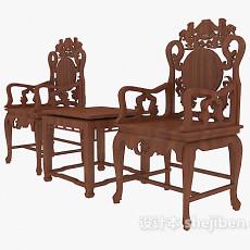 中式精致雕花桌椅组合3d模型下载