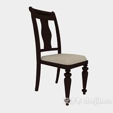 简约实木餐椅3d模型下载