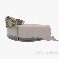 棕色铁艺圆形床3d模型下载