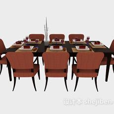 简约木质餐桌餐椅3d模型下载
