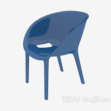 蓝色塑料椅3d模型下载