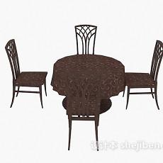 四人桌椅3d模型下载