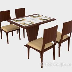 简约时尚实木餐桌3d模型下载