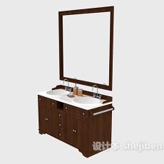 宾馆实木浴柜3d模型下载