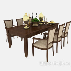 家居精致餐桌餐椅3d模型下载