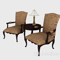 欧式风格单人沙发椅3d模型下载