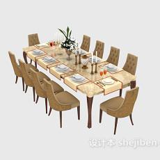 地中海式餐桌餐椅3d模型下载