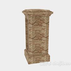 大理石裂纹柱子3d模型下载
