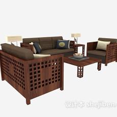中式 木质组合沙发3d模型下载