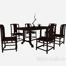 中式实木餐桌餐椅3d模型下载