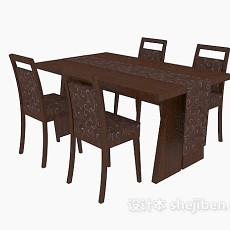 现代四人实木餐桌3d模型下载
