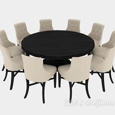 木质圆桌椅组合3d模型下载