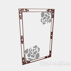 中式花纹玻璃门窗3d模型下载