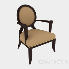 美式家居扶手餐椅3d模型下载