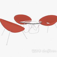 休闲区茶几桌椅3d模型下载