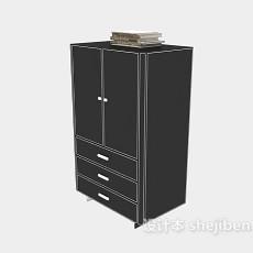 黑色办公柜3d模型下载