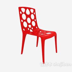 现代红色塑料休闲椅3d模型下载