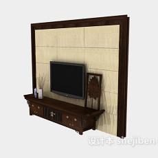 中式风格电视墙3d模型下载