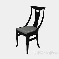 黑色实木休闲椅3d模型下载