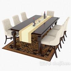 欧式家庭餐桌餐椅3d模型下载