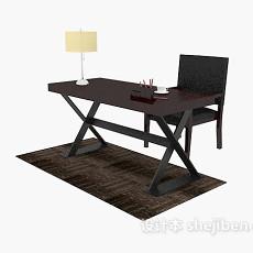 中式风格木质书桌3d模型下载