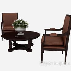 时尚简约桌椅组合3d模型下载