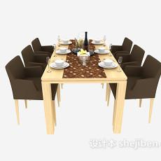 现代六人实木餐桌椅3d模型下载