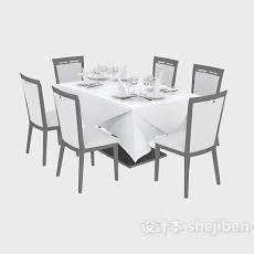 西餐餐桌椅3d模型下载