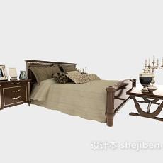 棕色欧式床具3d模型下载
