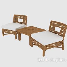 单人实木沙发椅3d模型下载