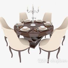 简欧风格餐桌3d模型下载