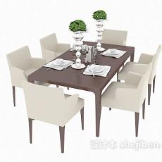 家庭餐桌餐椅组合3d模型下载