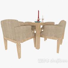 四人家居餐桌椅3d模型下载