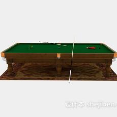 棕色木质台球桌3d模型下载