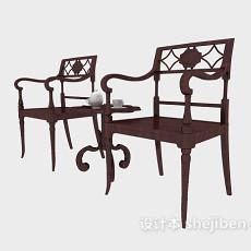 中式木质雕花扶手椅3d模型下载