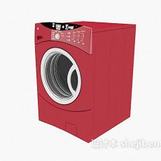 红色滚筒洗衣机3d模型下载