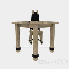 原木儿童桌椅3d模型下载