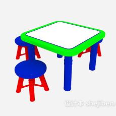 彩色儿童桌椅3d模型下载