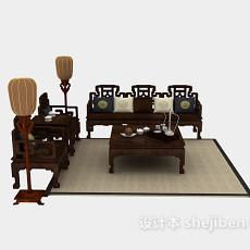 中式实木组合沙发3d模型下载