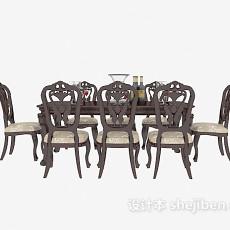 欧式复古餐桌餐椅3d模型下载
