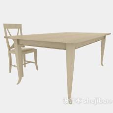 实木书桌椅3d模型下载