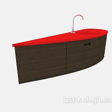 棕色简约实木浴柜3d模型下载