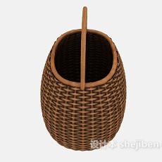 编织竹篮3d模型下载