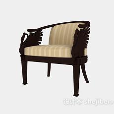 单人实木休闲椅3d模型下载