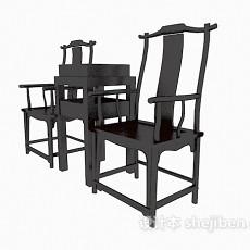 中式高背椅、边桌3d模型下载