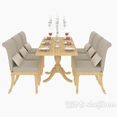 家庭餐桌餐椅3d模型下载